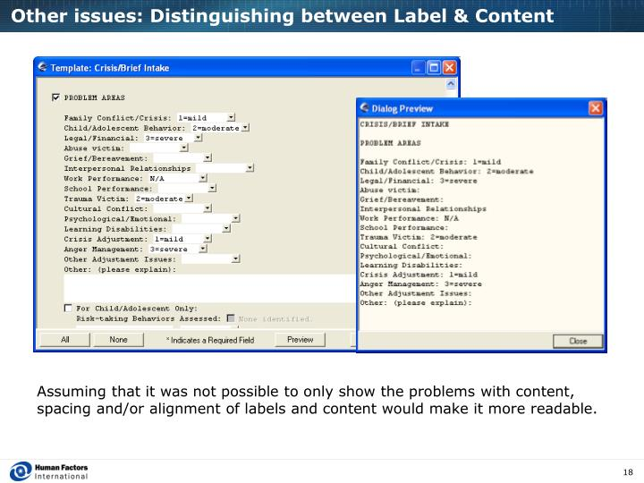Other issues: Distinguishing between Label & Content