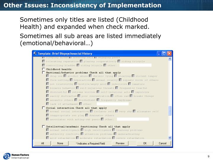 Other Issues: Inconsistency of Implementation