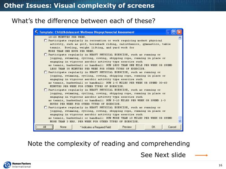 Other Issues: Visual complexity of screens