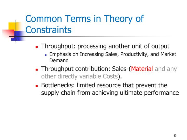 Common Terms in Theory of Constraints