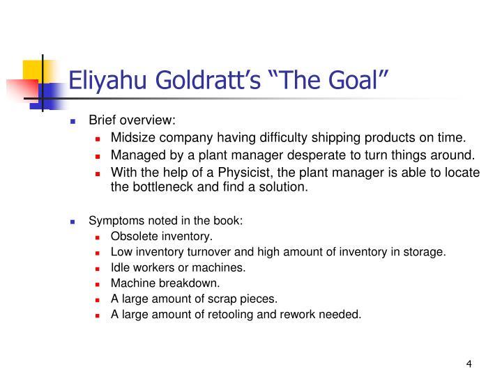 "Eliyahu Goldratt's ""The Goal"""