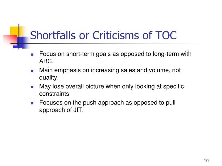 Shortfalls or Criticisms of TOC