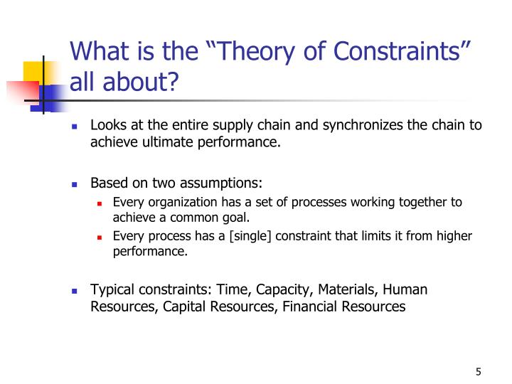 """What is the """"Theory of Constraints"""" all about?"""