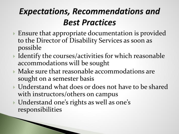 Expectations, Recommendations and Best Practices