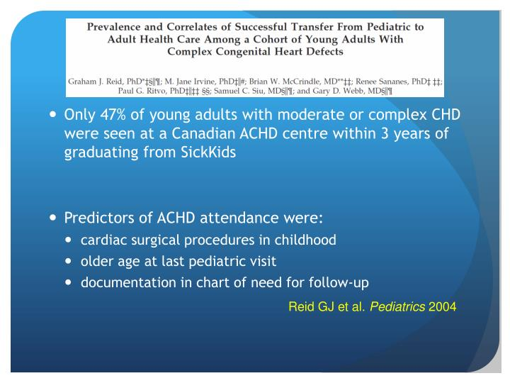 Only 47% of young adults with moderate or complex CHD were seen at a Canadian ACHD centre within 3 years of graduating from SickKids