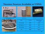 neutron sources available at usna