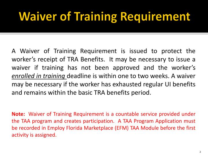 Waiver of training requirement1