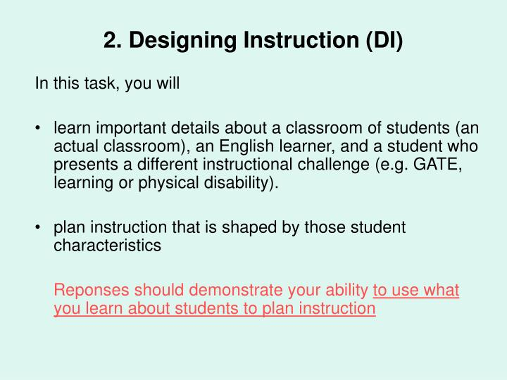 2. Designing Instruction (DI)