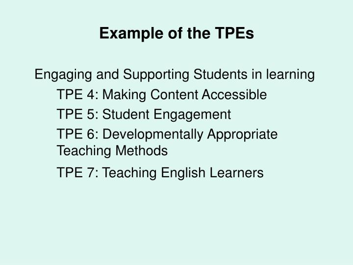 Example of the TPEs