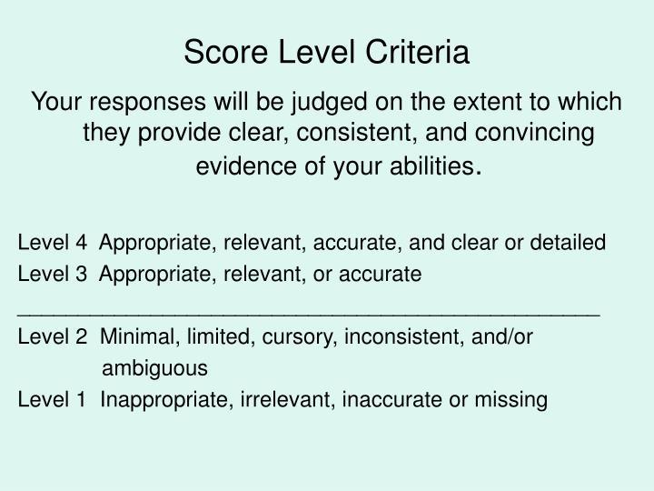 Score Level Criteria