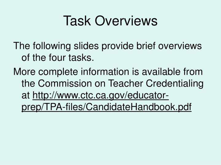 Task Overviews