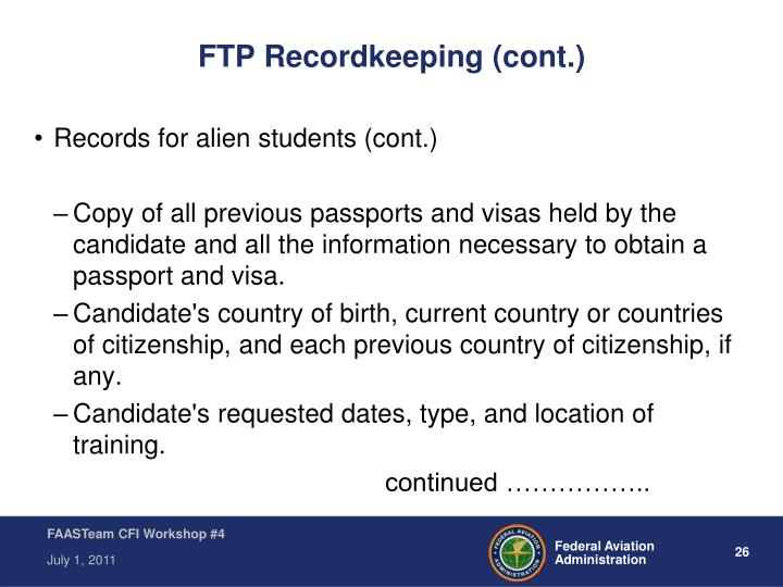 FTP Recordkeeping (cont.)