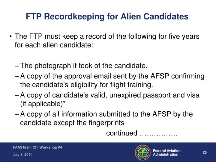FTP Recordkeeping for Alien Candidates