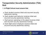 transportation security administration tsa quiz