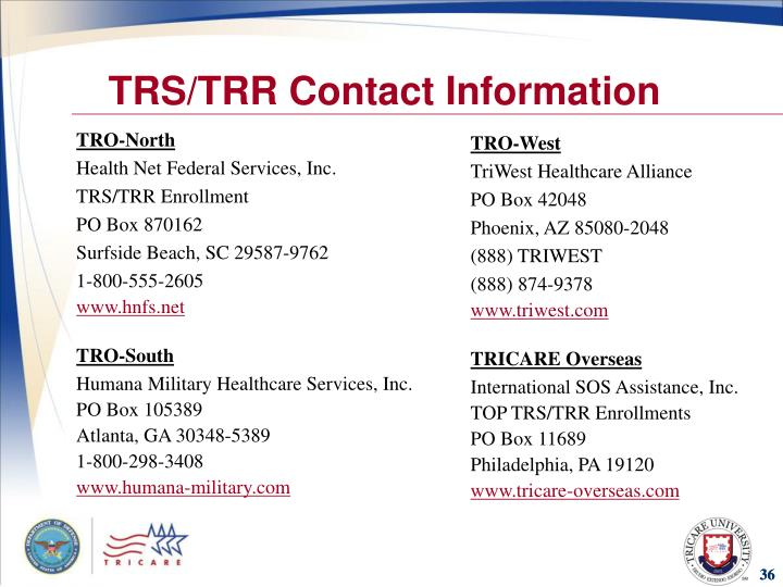 TRS/TRR Contact Information