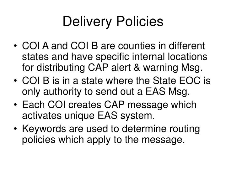 Delivery Policies