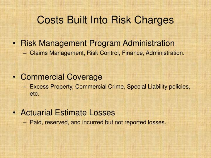 Costs built into risk charges