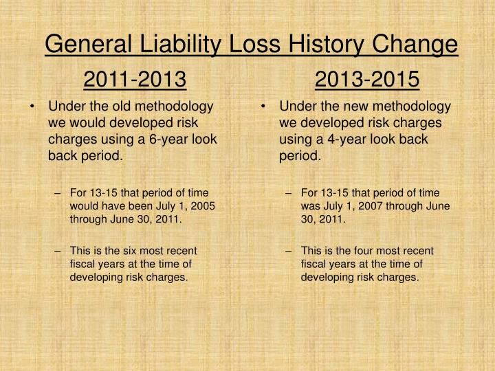General Liability Loss History Change