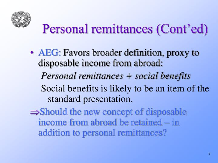Personal remittances (Cont'ed)