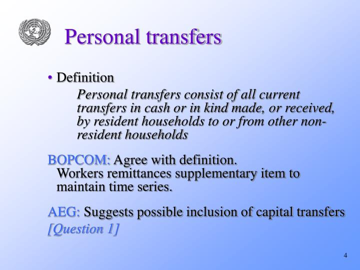 Personal transfers