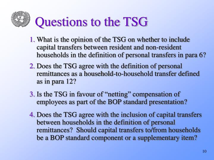 Questions to the TSG