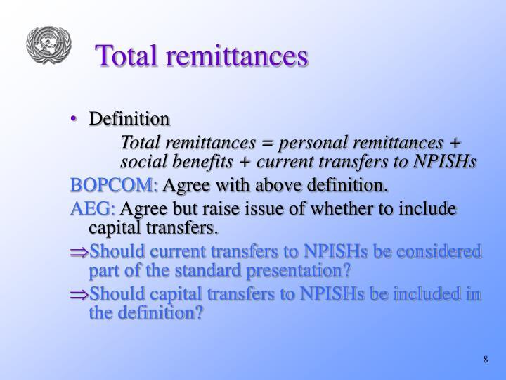 Total remittances