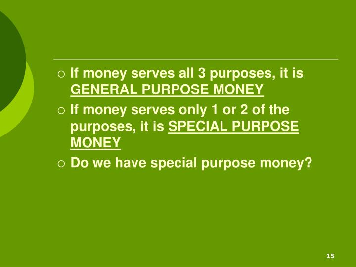 If money serves all 3 purposes, it is