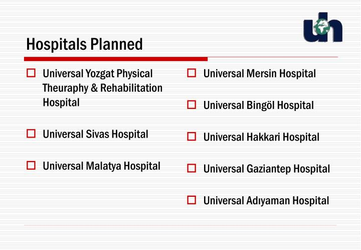 Universal Yozgat Physical Theuraphy & Rehabilitation Hospital
