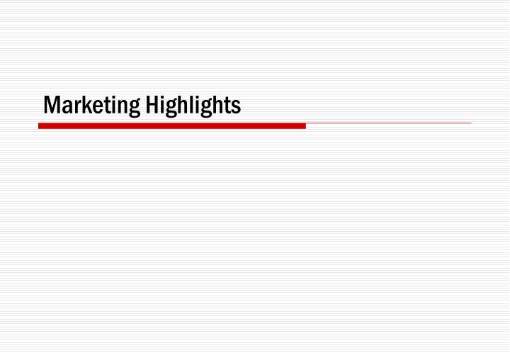 Marketing Highlights