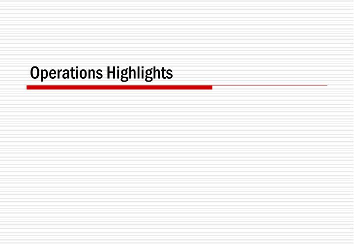 Operations Highlights