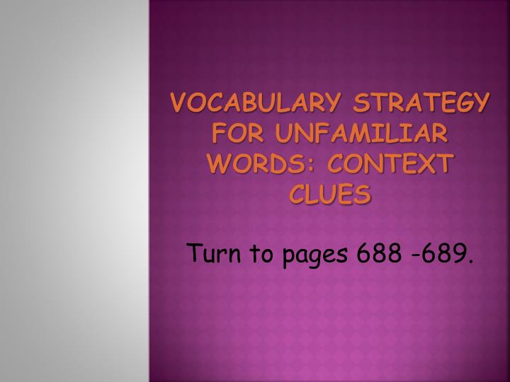 Vocabulary Strategy for