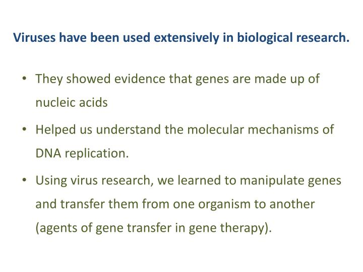 Viruses have been used extensively in biological research.
