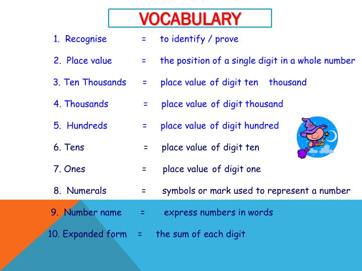 1.  Recognise             =     to identify / prove