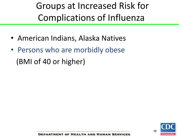 Groups at Increased Risk for Complications of Influenza
