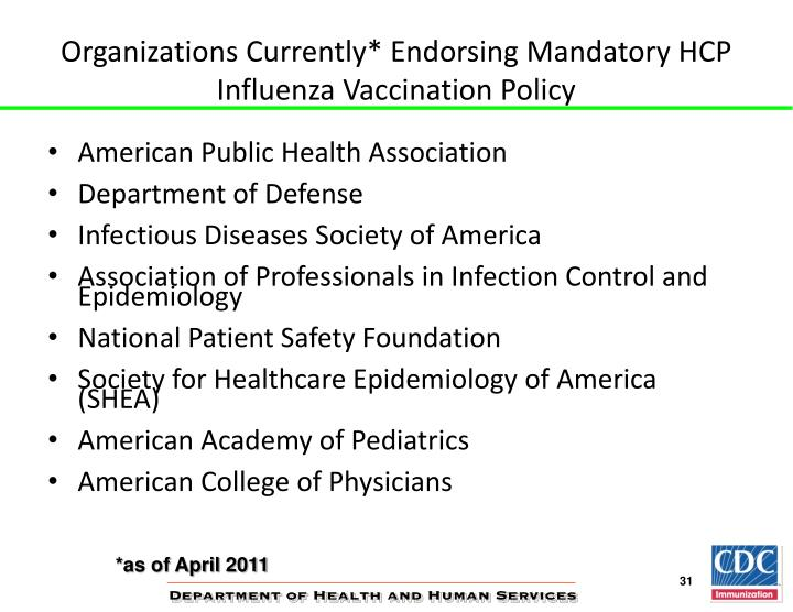 Organizations Currently* Endorsing Mandatory HCP Influenza Vaccination Policy