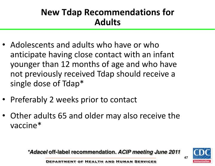 New Tdap Recommendations for Adults
