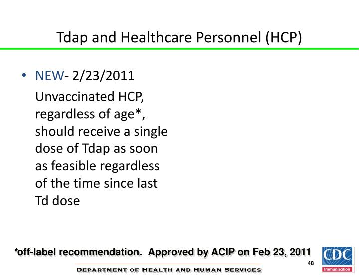 Tdap and Healthcare Personnel (HCP)