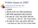 protein losses on crrt davies et al crit care med 1991