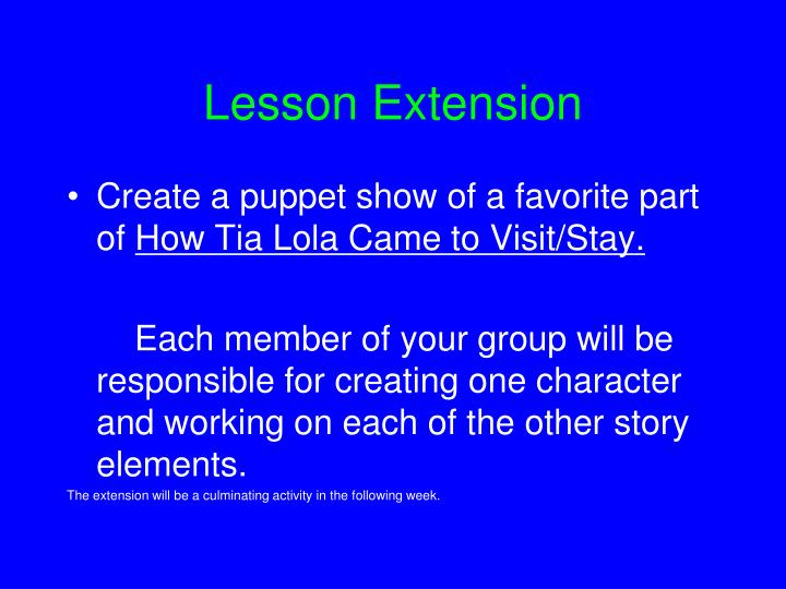 Lesson Extension
