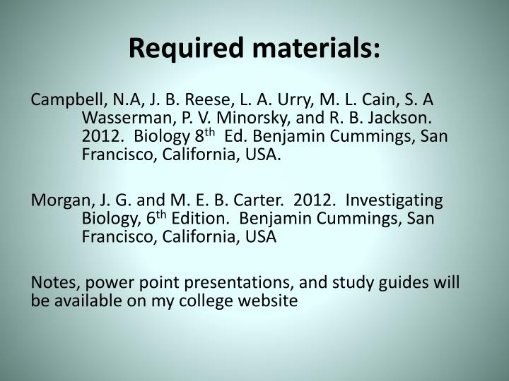 Required materials: