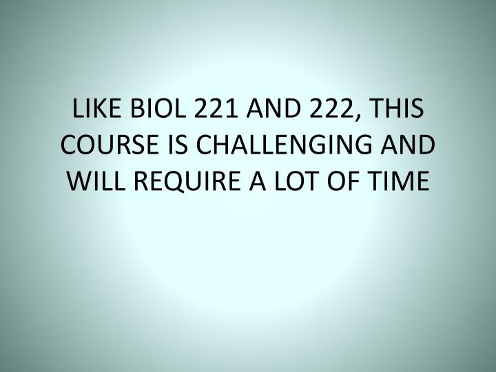 LIKE BIOL 221 AND 222, THIS COURSE IS CHALLENGING AND WILL REQUIRE A LOT OF TIME
