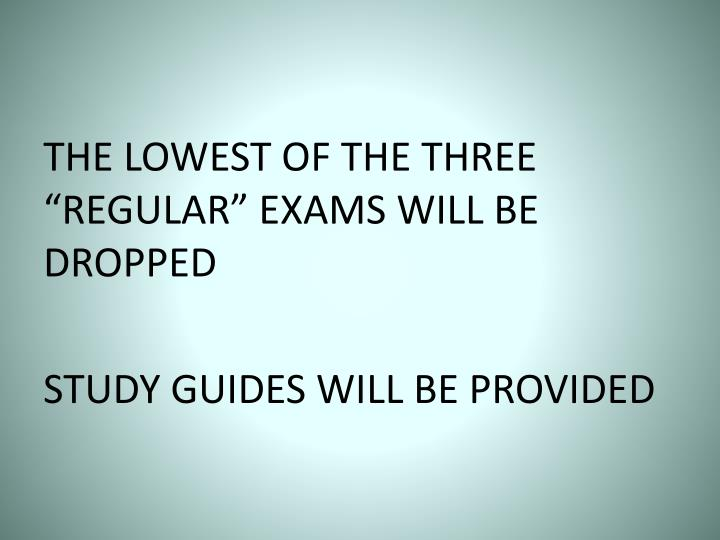 """THE LOWEST OF THE THREE """"REGULAR"""" EXAMS WILL BE DROPPED"""