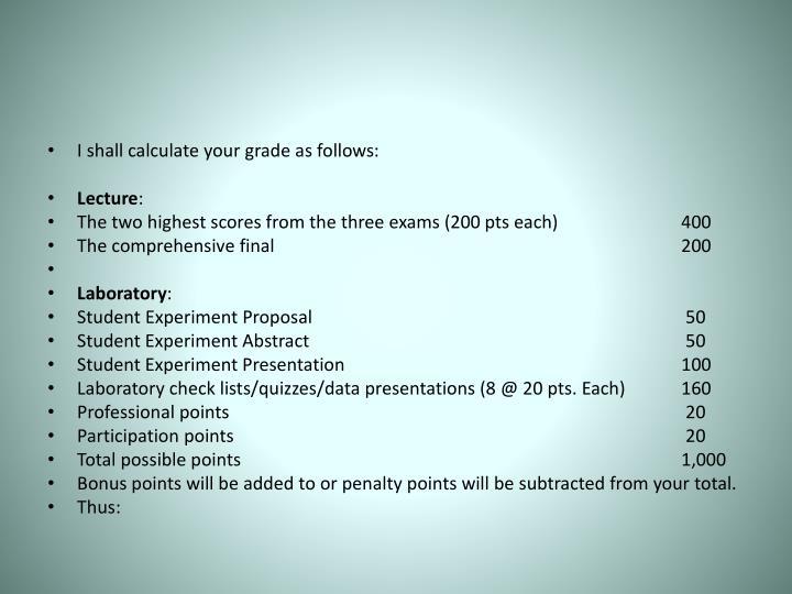 I shall calculate your grade as follows