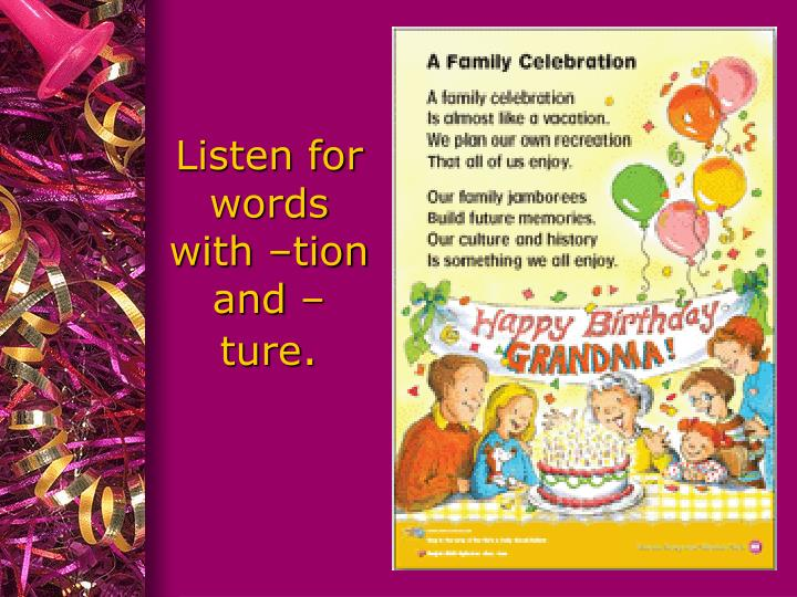 Listen for words with –