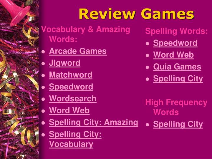 Vocabulary & Amazing Words: