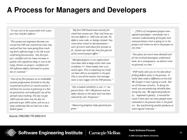 A Process for Managers and Developers