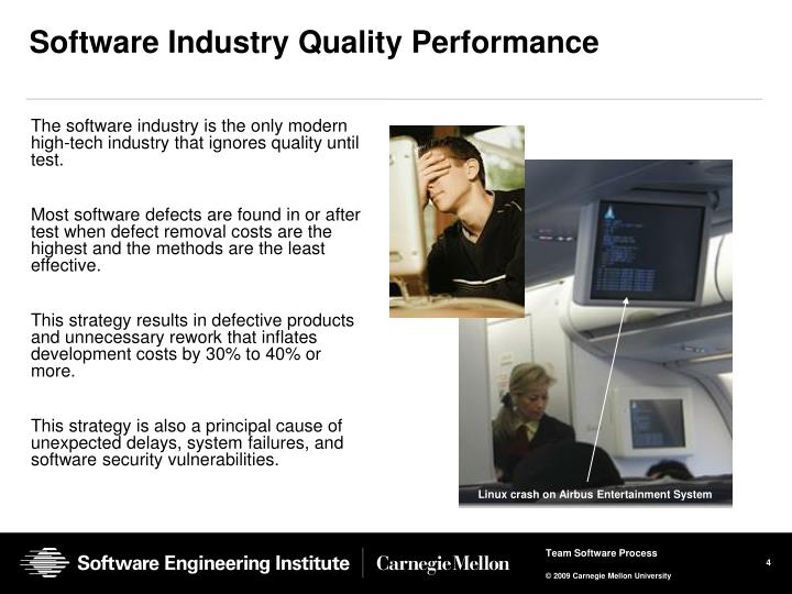 The software industry is the only modern high-tech industry that ignores quality until test.