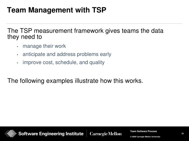 Team Management with TSP