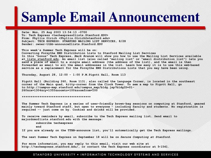 Sample Email Announcement