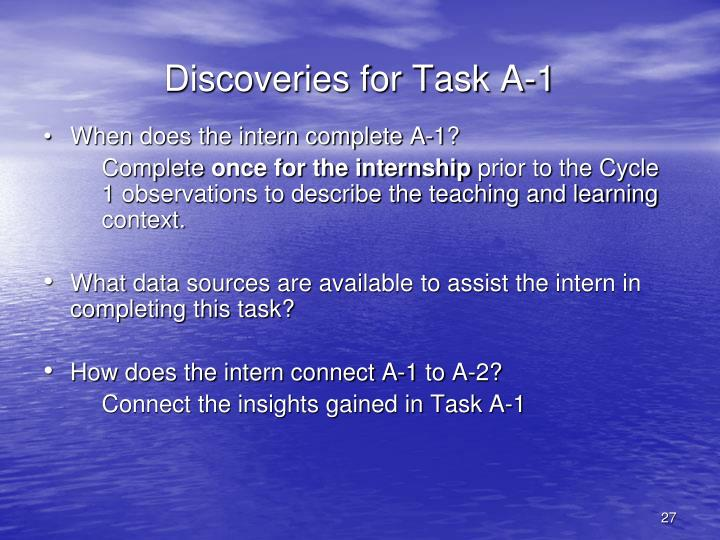 Discoveries for Task A-1